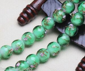 10pcs-10mm-Round-Flowers-Loose-Spacer-Lampwork-Glass-Beads-Finding-Light-Green