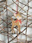 Gisela Graham wooden bambi deer Christmas tree decoration 12cm
