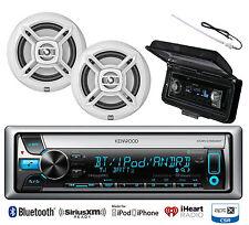 "White Dual 6.5"" Marine Speakers, Kenwood Bluetooth USB CD Radio, Antenna, Cover"