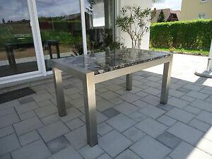 ... Edelstahltisch-Esstisch-Gartentisch-mit-Steinplatte-Kieseloptik-Granit