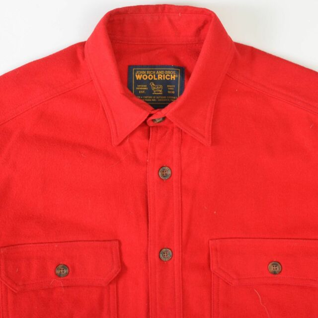 Woolrich Red Chamois Cloth Flannel Shirt Long Sleeve Cotton Mens Medium M