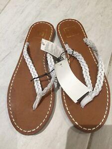 16ec8a8aefb4 Gap multi rope flip flops leather white flat sandals ebay jpg 225x300 Rope  flip flops
