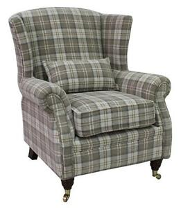 Ashley-Fireside-High-Back-Wing-Armchair-Lana-Beige-Check-Fabric