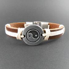 Retro Tibetan style silver yin ying yang sign ethnic leather charm bracelet