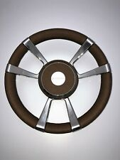 NEW Gussi Boat Steering Wheel Model M012 Distressed Leather Wrap Stainless Steel