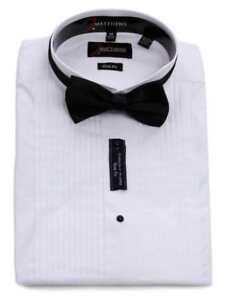 9d1161ed3c7ef5 ... j matthews white slim fit mens wing tip pleated tuxedo shirt ...