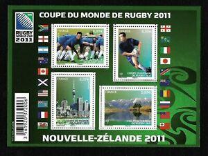 Bloc-Feuillet-2011-N-F4576-Timbres-France-Coupe-du-Monde-de-Rugby-2011