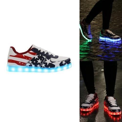 Lesara Hommes USA Modèle LED Chaussures Baskets Pointure 9,11 & 12 UK Neuf Multi