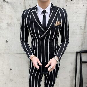 Black Striped Wedding Tuxedo Men S Suits Double Breasted Formal 2 Pieces Suits Ebay