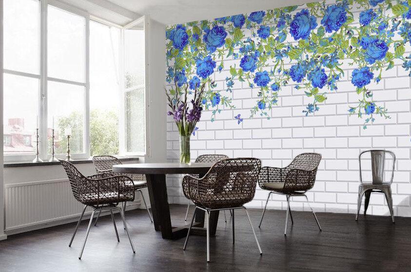 3D bluee Flower Wall 92 Wallpaper Mural Paper Wall Print Wallpaper Murals UK