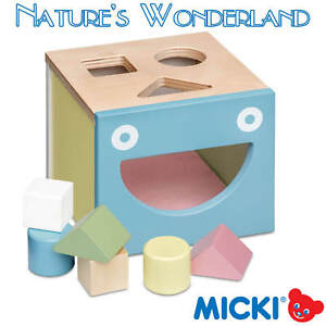 Details About Classic Wooden Baby Sorting Box In Pastel 6 Blocks 3 Shapes Micki Leksaker