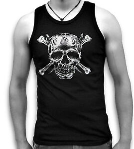 Skull-Bones-Daggers-Pirate-Biker-Mens-Sleeveless-Muscle-T-Tank-Top-Vest-Sm-2XL