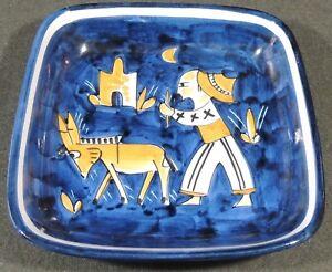 """Vietri ART ITALIE peinte à la main 8 5-8"""" Folk Art Pottery Square Bowl plaque EUC-afficher le titre d`origine I4VgrM5N-09092225-684060350"""