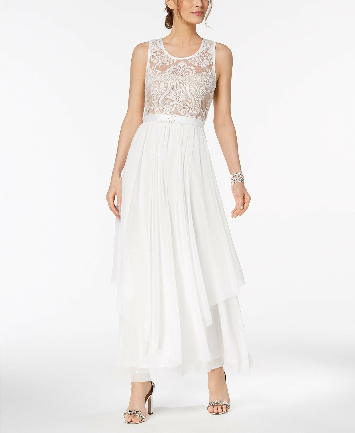 450 R&M RICHARDS WOMEN WHITE SEQUIN EMBROIDERED MESH BELTED GOWN DRESS SIZE 12