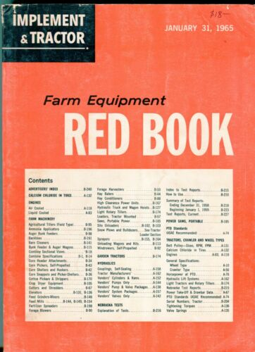 Implement and Tractor Farm Equipment Red Book January 31 1965
