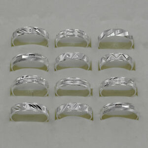 Wholesale-Lots-10Pcs-925-Sterling-Solid-Silver-Mens-Rings-Size-6-to-10