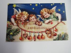 New Reproduction 1900's Christmas Postcard Angel Children And Garland