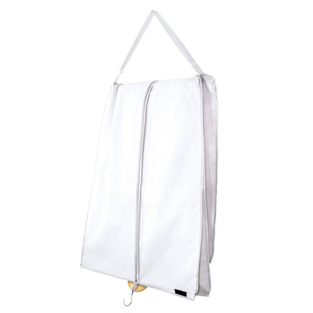Hangerworld™ 72 in White Wedding Dress Carry Cover + Support Clothes Bag Gusset