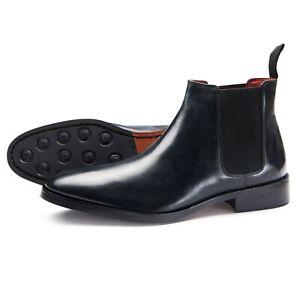 Samuel-Windsor-Men-039-s-Chelsea-Prestige-Black-Leather-Slip-On-Boots-UK-Size-5-14