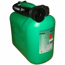 Green Petrol Fuel Canister Plastic Lawn Mower Jerry Can 5 Litre Flexible Spout