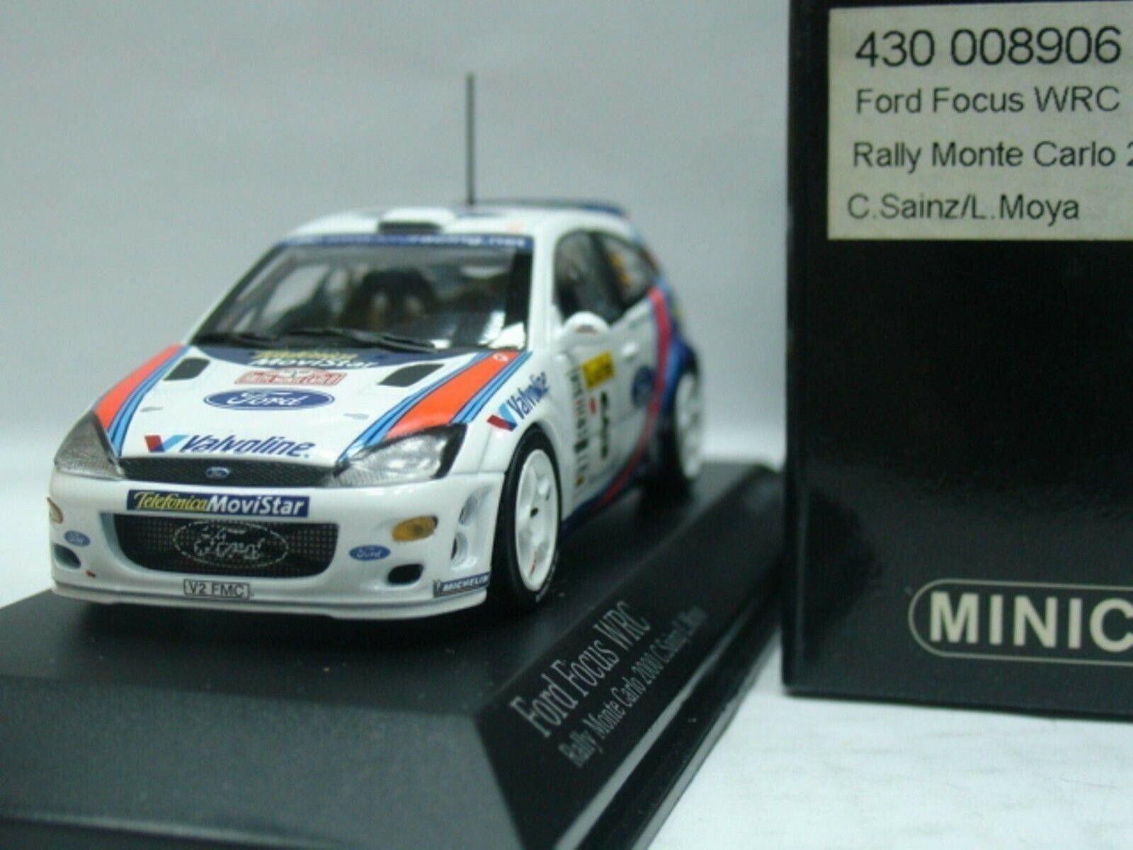 Wow extrêmement rare FORD FOCUS RS WRC 2000    6 Sainz 2nd M. CARLO 1 43 Minichamps e80a5e
