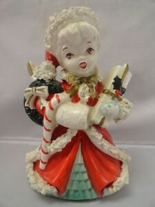 Vintage-NAPCO-Christmas-Shopping-Girl-Planter-Gift-Candy-Cane-Bow-AX1699