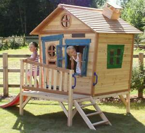 Details About Redwood Penthouse Wooden Playhouse With Slide Painted Wendy House Play House Den
