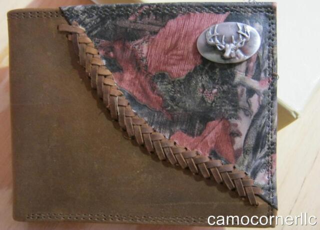 ZEP-PRO BUCK DEER Mens Roper Leather Fence Row Camo Wallet  FREE GIFT BAG