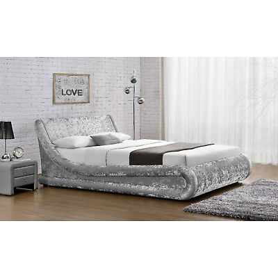Ottoman Crushed Velvet Double Size Bed Designer Silver Black NEW