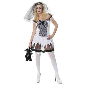 costume d guisement halloween femme ultra sexy mari e gothique zombie noir blanc ebay. Black Bedroom Furniture Sets. Home Design Ideas