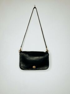 COACH-Vintage-Black-Leather-Penny-Pocket-Crossbody-Purse