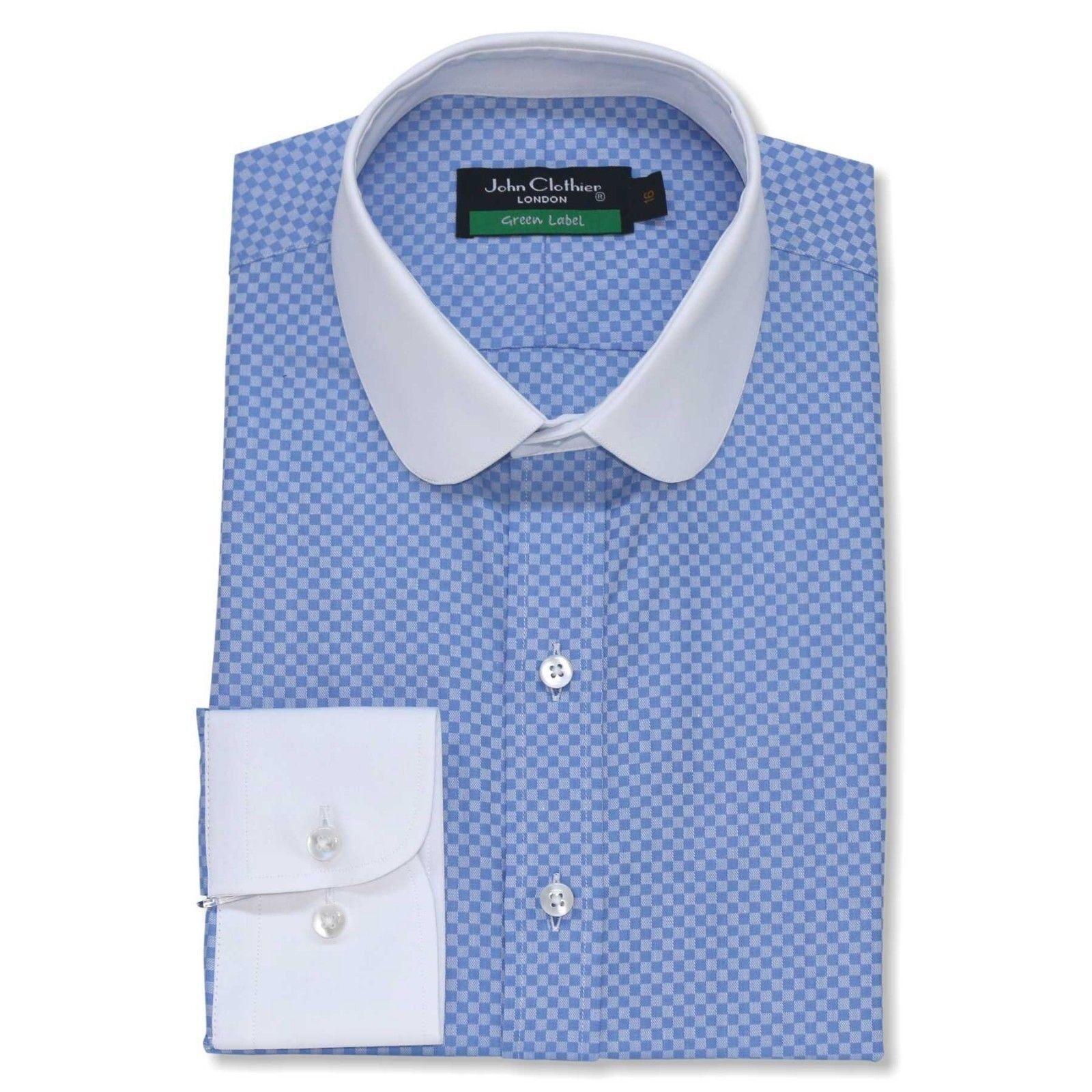 Peaky Blinders Mens Round Penny collar shirt Lite Blau checks Grandad Club Gents