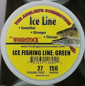 WOODSTOCK ICE FISHING TIP-UP LINE 27# TEST 150YD SPOOL GREEN BRAIDED NYLON