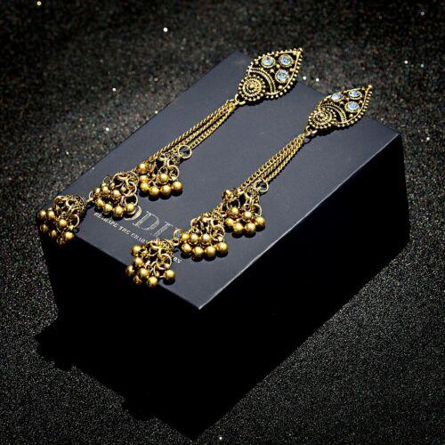 Vintage Gold Plated Long Tassel Dangle Indian Wedding Jhumka Ethnic Stud Earring