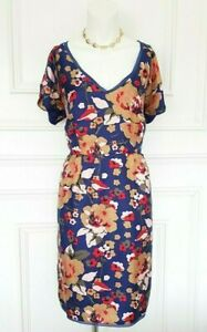 Blau-hellbraun-rot-Hobbs-London-Floral-100-Seide-Designer-Sommer-ist-die-bloed-Sommerkleid-14