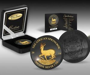 Gabon 2014 1000 Francs Africa Springbok Golden Enigma 1 Oz Silver Gilded Coin