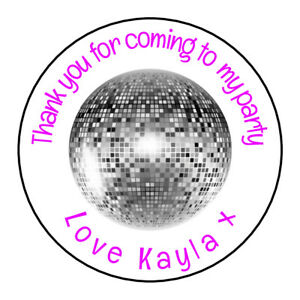 Disco-Ball-70-039-s-60-039-s-Personalised-Thank-You-Sticker-Party-Sweet-Cone-Birthday