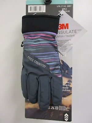 Free Country Girls Outdoor Gloves Softshell Ski Gloves Thinsulate Grey L//XL 7-14