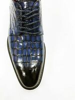 Mens Dress Shoes Giovanni Clyde Blue Lace Up Gator Print Genuine Leather