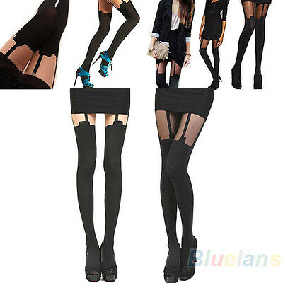 Unique Thigh High Over Knee Stockings Hold Ups Tattoo Mock Suspender Tights B84U