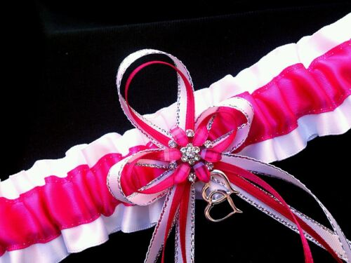 HANDMADE Set of 2 Fuchsia Satin Silver White GARTER TOSS Prom Wedding Bridal