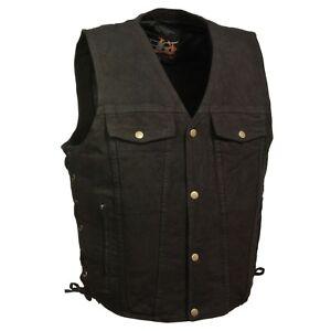 Milwaukee-Denim-Men-039-s-Side-Lace-Denim-Vest-w-Two-Chest-Pockets-Black-or-Blue
