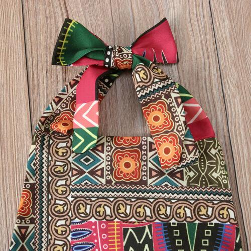 Summer Toddler Baby Girls Sleeveless Dashiki African Romper Jumpsuit Clothes