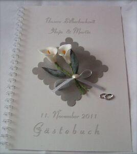 Das Bild Wird Geladen Gaestebuch Silberne Hochzeit Silberhochzeit Calla  Creme Geschenk Karte