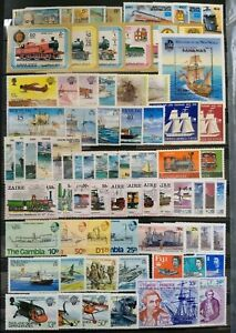 Worldwide-Transport-Stamp-Collection-MNH-15-Sets-from-15-Different-Countries