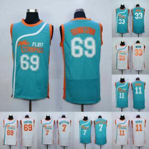 Mens 33 Flint Tropics Jersey Jackie Moon Basketball Jersey S-XXXL Green//White