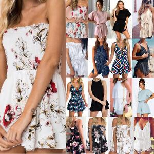 UK Women/'s Holiday Playsuit Romper Ladies Jumpsuit Summer Beach Dress Sleeveless