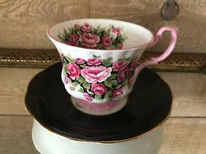 Tea-Cup-and-Saucer-Fragrance-Series-Rosa-Black-and-Pink-Vintage-Royal-Albert