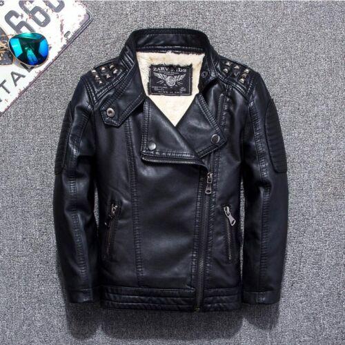 Kids Boys Warm Leather Jacket Fleece-lined Biker Black Outerwear Motorcycle Coat