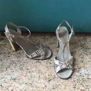 f92e011c48b3 Image is loading Gucci-Sandals-high-heels-wood-Python-snake-skin-